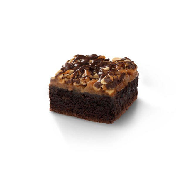 Brownie ze słonym karmelem, polewą i orzechami