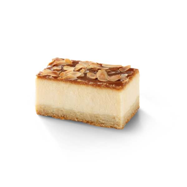 Cheesecake with caramel and almond flakes